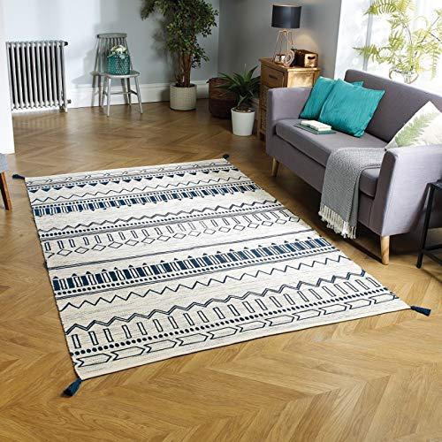 Oriental Weavers Teppich, 100% Baumwolle, blau, 120 x 170 cm