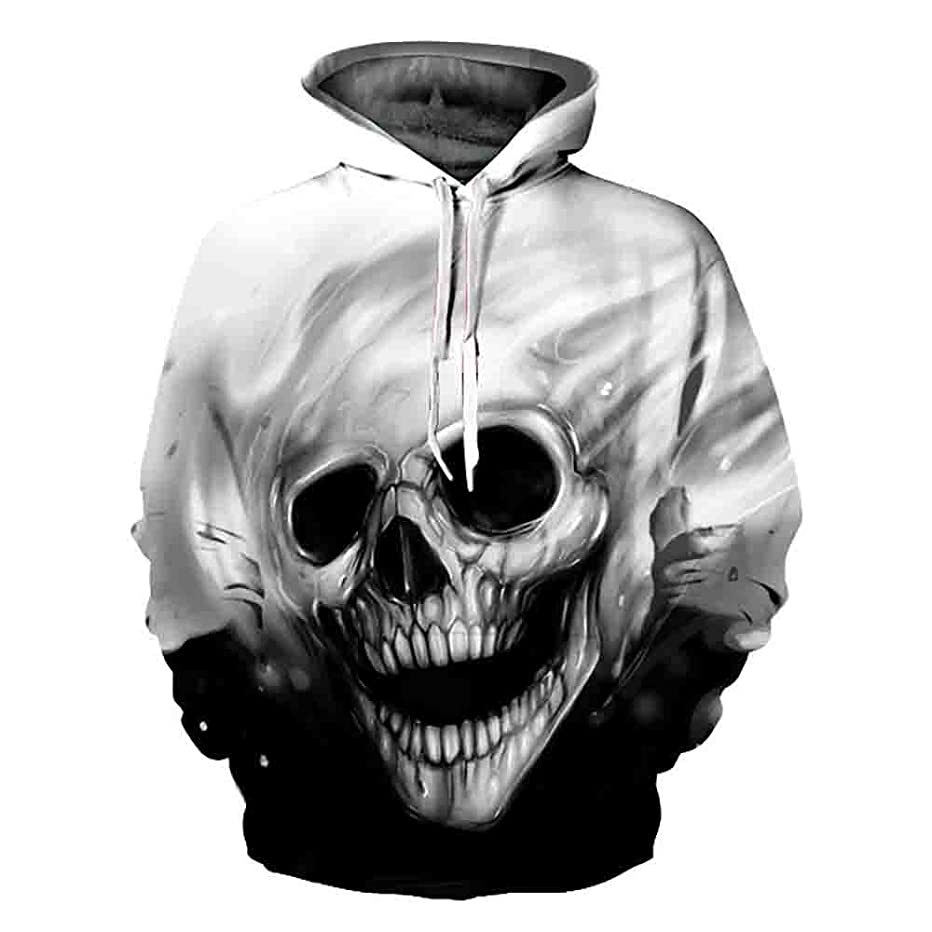 Koolee_Tops Matching Couple His and Her Hooded Sweatshirt 3D Skull Printed Valentine's Pullover Hoodies Shirt