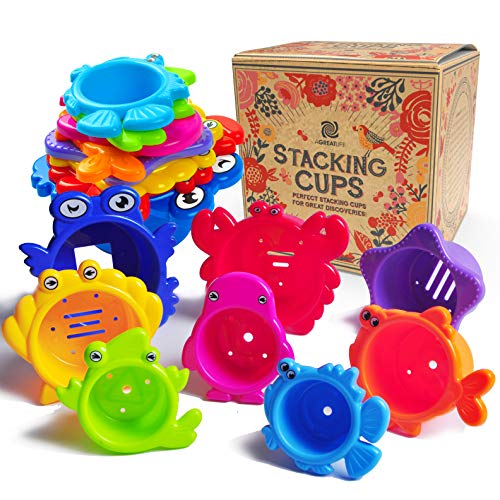 AGREATLIFE Stacking Cups Bath Toys for Toddlers - Safe and Fun Kids Bath Toys with Bright Multi Colored Cups That Enhances Your Child's Imagination! Bath Time is More Exciting with These Water Toys