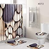 GRAYSONGMS 8 Types 4Pcs/Set Anti Slip Bathroom Rugs Set Waterproof Shower Curtain Pedestal Rug Lid Toilet Cover Bath Mat Home Decor Show