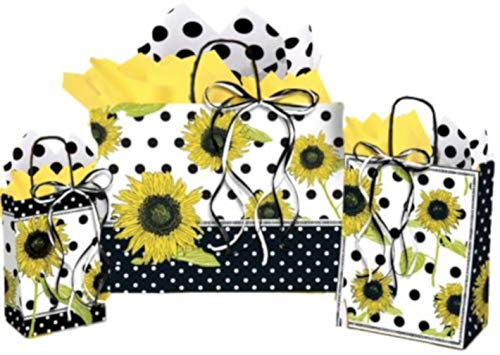 Sunflower Gift Bags - Assorted Sizes Bundled with Coordinating Tissue Paper and Raffia Ribbon (Sunflower Polka Dot)