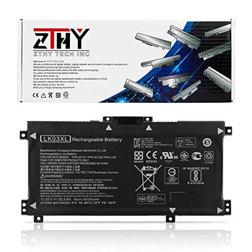 ZTHY LK03XL Battery Replacement for HP Envy 17 17-AE143NG 17M-AE0XX 17T-AE100 CTO 2RX66AV Envy X360 15-BP000 15-BP107TX 15M-BP000 15M-BP012DX 15-BP100TX 15-BP194CL 916368-541 916814-855 11.55V 55.8Wh