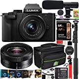 Panasonic DC-G100KK LUMIX G100 Mirrorless 4K Vlogging Camera with 12-32mm F3.5-5.6 Lens Bundle with Deco Gear Camera Bag + Photo Video Monopod + Microphone + 64GB Card + Software Kit & Accessories