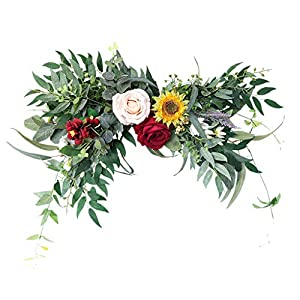 homozy Artificial Flower Swag Decorative Wedding Arch Swag Green Leaves Wreath Arch Garland Silk Flower for Home Garden Lintel Wedding Party Decor