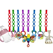 Baby Toy Straps, 8 Pack Stretchable Silicone Pacifier Clips Baby Toddler Toy Bottle Harness Straps for Strollers,Highchair,Shopping Trolley,Cars,Hanging Baskets,Cribs,Bags