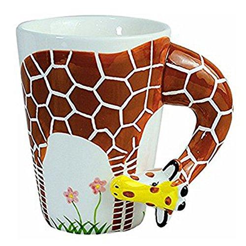 TOOGOO Creative gift Ceramic coffee milk tea mug 3D animal shape Hand painted animals cup-giraffe