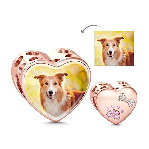 GNOCE Personalisiert Foto Charms Herz mit Knochen S925 Charme weißes rosa Saphir Haustier Charme für Armband und Halsketten denkwürdiges Geschenk