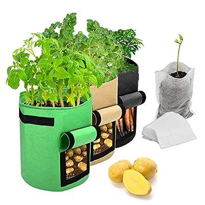 Sacs de culture de pommes de terre, paquet de 3 sacs de culture de plantes de 10gallons/Sacs en tissu non tissé d'aération avec poignées Sacs de culture de jardin avec 50 sacs de semis biodégradables