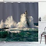Aliyz Serie decoración Faros Italia Cerdeña Salpicaduras Faros Ubicación Surf Imagen Referencia Cortina Ducha para baño Tela Duradera Resistente al Agua fácil Limpiar para baño Ducha Hotel