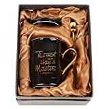 WHATCHA Has a Masters Degree Black Gold Funny Coffee Mugs Graduation Gifts for College Masters...