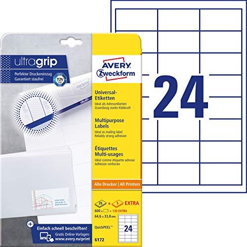 AVERY Zweckform 6172 Adressaufkleber (mit ultragrip, 64,6 x 33,8 mm auf DIN A4, Papier matt, bedruckbare, selbstklebende Adressetiketten, 720 Klebeetiketten auf 30 Blatt) weiß