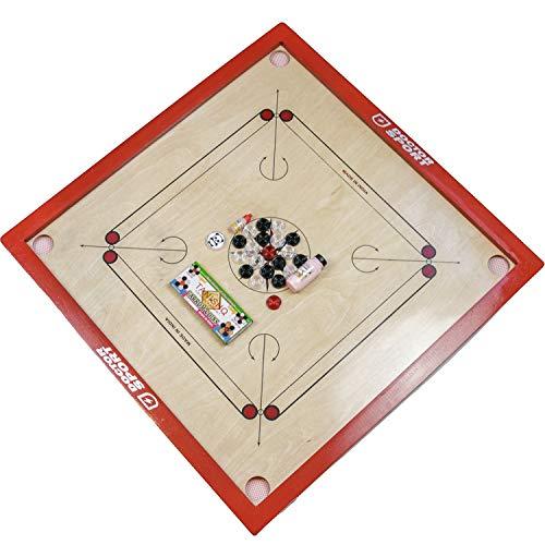 Carrom - Original India - 74x 74 cm - Inkl. Steinen Puder Striker - Komplett Farbe Rot - verstärktes hinteres - Netz in den Ecken - Komplett und Perfekt