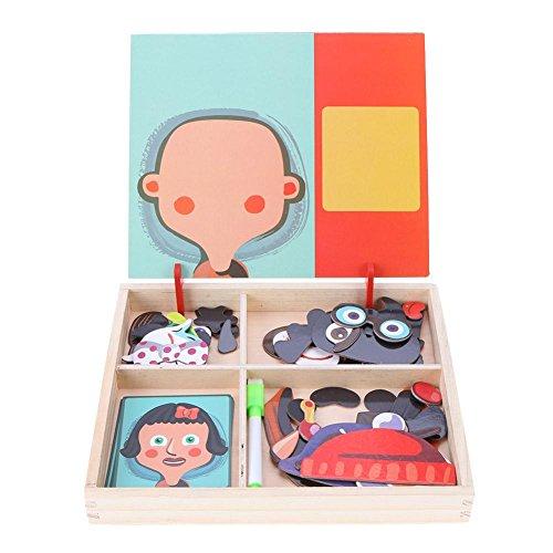 Domybest Baby Holz Magnetic Puzzle Board Dress Up Spiele Kinder Bildungs ??(Fünf Gesichtszüge)