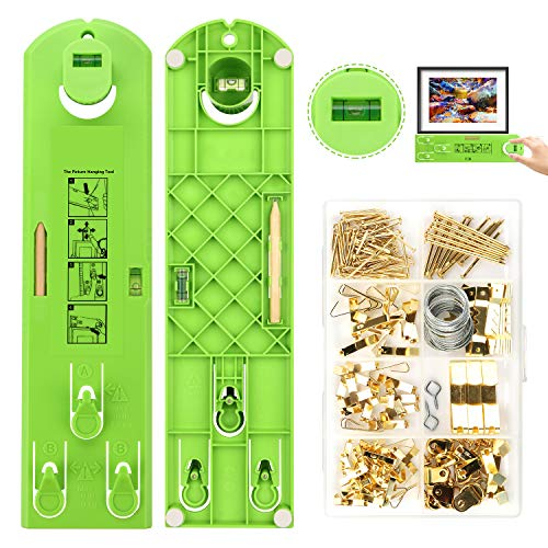 Picture Hanging Kit, AURIDA Picture Hangers, 222 Pieces Wall Hanging Kit with Photo Hanging Wire, Hooks,Nails,Hanger and Picture Frame Level Ruler for Marking Position