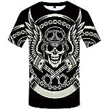 WBYFDC Camiseta De Calavera 3D para Hombre Camiseta Informal con Cuello Redondo De Verano para Hombre Camiseta De Empalme Transpirable con Estampado De Ropa De Calle