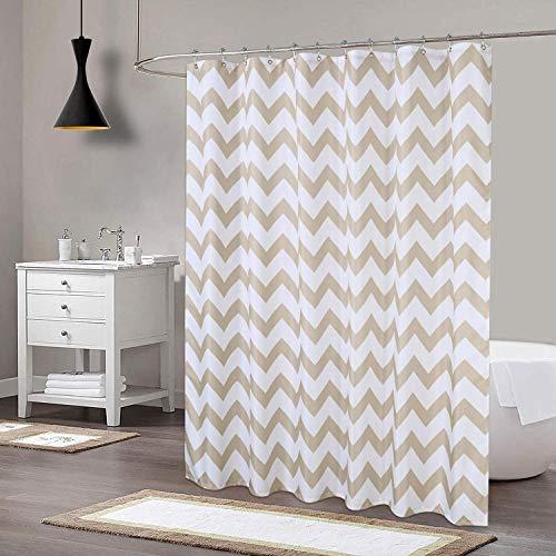 LinTimes Duschvorhang Wasser Resistant Duschvorhänge AntiSchimmel Shower Curtain für Badezimmer Waschbar, Natur,183x198cm