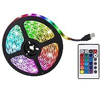 Konrev ledテープライト テープライト イルミネーションライト ledテープ 5V RGB 16色 DIY 防水 24キーリモコン付き 4つモード 高輝度 間接照明 簡単に取り付け 装飾 屋内 屋外用 パーティー 0.5m/2m/5m