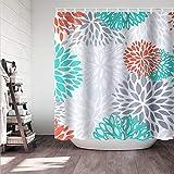 Didihou Turquoise Shower Curtain Waterproof Polyester Fabric Shower Curtain Dahlia Flower Print Decorative Bathroom Curtain with Hooks 71'x71'