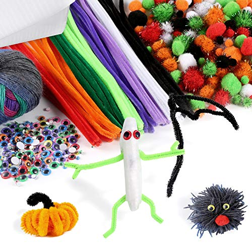 Pllieay 453 Pieces Halloween Pom Poms and Pipe Cleaner Kit for Festival Decoration Craft DIY Art Supplies