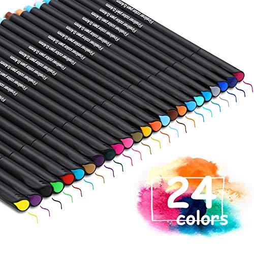 ✔ 24 Bolígrafos Fineliner - 24 bolígrafos de dibujo de punta fina brillantes y coloridos con un ancho de línea de trazo de 0,4 mm. Es la primera opción para firma, gancho y dibujo a mano. ✔ Seguro para Usar - tinta a base de agua de alta calidad, no ...