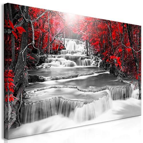 decomonkey   Mega XXXL Bilder Wasserfall   Wandbild Leinwand 170x85 cm Selbstmontage DIY Einteiliger XXL Kunstdruck zum aufhängen   Wald Natur Fensterblick 3D