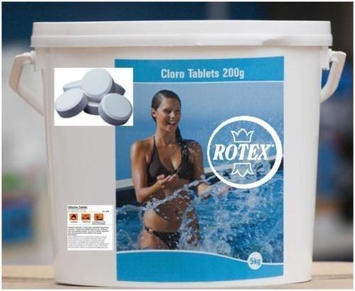 Rotex Tricloro Cloro 90% Piscina Pastiglie Gr 200 Pastiglioni Per Piscine Kg 10
