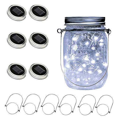 Solar Mason Jar Lid Light(Handle/Fairy Sticker Included),6 Pack 30Led String Fairy Lights, Decor Idea for Mason Jar,Patio Garden Solar Fairy Laterns Table Lights(No Jars)