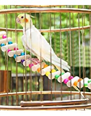 Sage Square 48 cm/19 Inches Playful Natural Wood Bead Swing Flexible Ladder Toy for Cockatiel, Lovebird, Budgerigar, Sun Conure, Finch, African Grey, Canary, Cockatoo, Macaw, Budgeri Birds