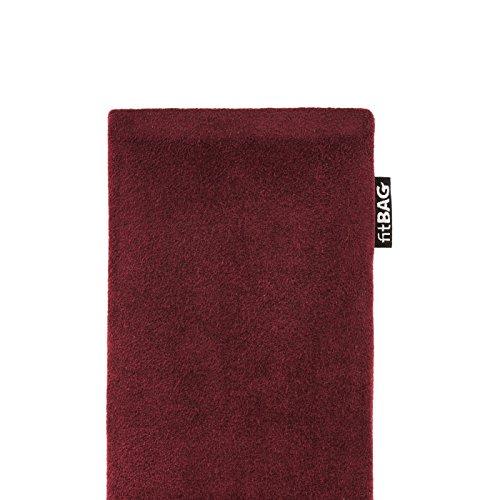 fitBAG Classic Weinrot Handytasche Tasche aus original Alcantara mit Microfaserinnenfutter für Huawei Ascend D Quad/D Q   Hülle mit Reinigungsfunktion   Made in Germany - 4