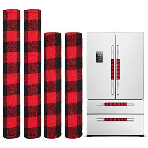 4 Stück Weihnachten Kühlschrank Türgriff Abdeckung, Küchengerät Mikrowelle Geschirrspüler Griff Abdeckung für Weihnachten Dekoration (Rotes und Schwarzes Plaid)