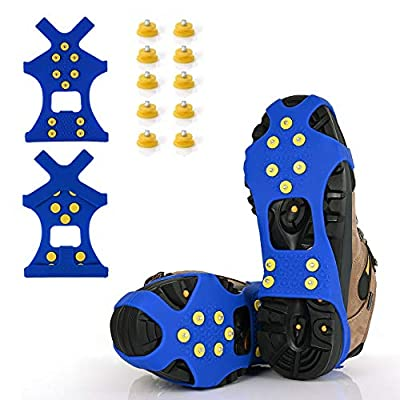 XYZLHIce Cleats, Ice Grips Traction Cleats Grippers Non-Slip Over Shoe/Boot Rubber Spikes Crampons with 10 Steel Studs Crampons + 10 Extra Replacement Studs (Blue, X-Large)