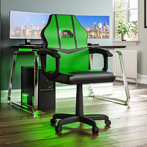 Vida Designs Racing Comet Gaming Computer Chair, Green & Black, Office...