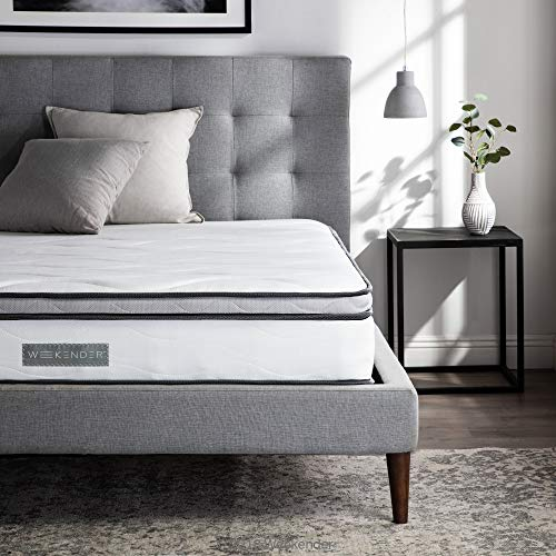 WEEKENDER 10 Inch Hybrid Mattress - Memory Foam and Motion Isolating Springs - Medium-Firm - 10-Year Warranty - Queen