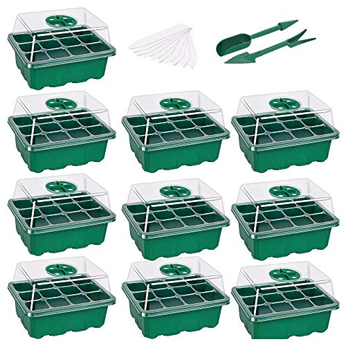 Seed starter plate Seedling plate Seedling plate Humidity adjustable switch Garden decoration accessories 12 grids 10 pieces per plate-10_green