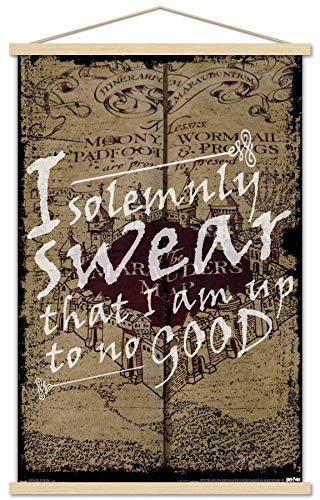 """Trends International Harry Potter - The Marauder's Map - I Solemnly Swear Wall Poster with Wooden Magnetic Frame, 22.375"""" x 34"""", Print and Black Hanger Bundle"""