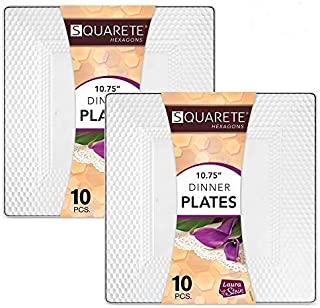 Squarete Hexagons Crystal Clear Hard Plastic Elegant Disposable 10.75'' inch Square Dinner Plates 10 Plates Per Package Pack Of 2