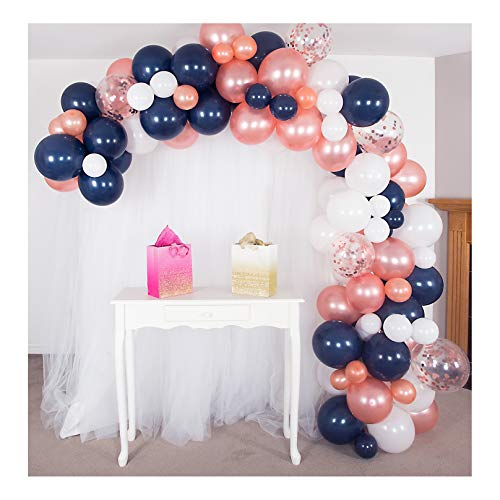 Shimmer and Confetti 16ft Premium White, Navy and Rose Gold Balloon Garland and Arch Kit, Tying Tools, Confetti, Tape, Party Decorations for Gender Reveal, Birthday, Graduation, Weddings, Baby Showers