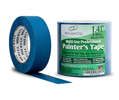 """3 Pack Painters Tape, Professional Blue Tape for Multi Surfaces, Eco Friendly 21 Day Clean Easy Removal, Contractor Grade Masking Tape, Package of 3 Rolls 1.41"""" x 60 YD (36MM x 54.8M)"""