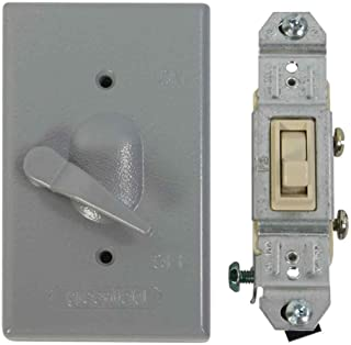 Made in USA Electrical Box Outlet Cover & Single Pole Switch Kit - Gray