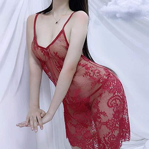 Corsés para Mujer Ropa de Dormir para Mujer Pijamas Sexy Nueva lencería Sexy Mujer con Cuello en V Espalda Abierta Transparente 3XL Sling Encaje pestañas camisón Rojo Vino tamaño Libre
