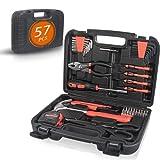 Juego de herramientas, kit de herramientas de mano para reparación general del hogar, 57 piezas con estuche de almacenamiento de caja de herramientas, mango antideslizante para el hogar (naranja)