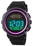 Digital Led Back Light Solar Powered Sporty Watches Week Alarm Chronograph Wrist Watch Women (Purple)