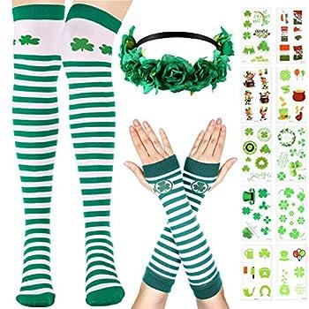 St Patrick s Day Costume Accessories Set Clover Stripe Over Knee Socks Stripe Arm Warmer Gloves Green Flower Headband Shamrock Tattoo Sticker for Women Girls