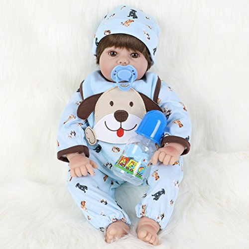 ENA Reborn Baby Doll Realistic Silicone Vinyl Baby Boy 24 inch Weighted Soft Body Lifelike Doll Gift Set for Ages 3+(Blue Puppy)