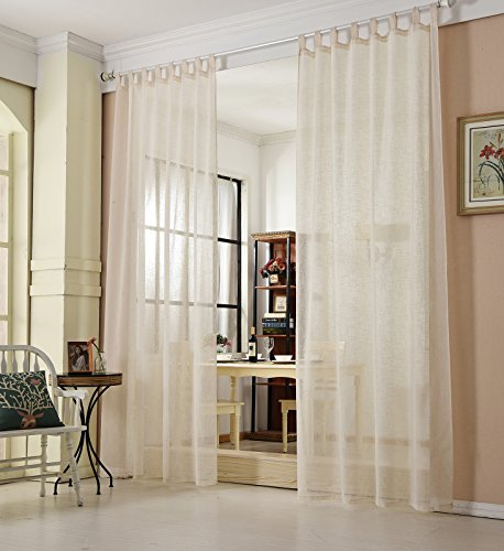 WOLTU® VH5863cm, Gardinen transparent mit Schlaufen Leinen Landhaus Optik, Schlaufenschal Vorhang Stores Voile Fensterschal für Wohnzimmer Kinderzimmer Schlafzimmer, 140x245 cm, Crème, (1 Stück)