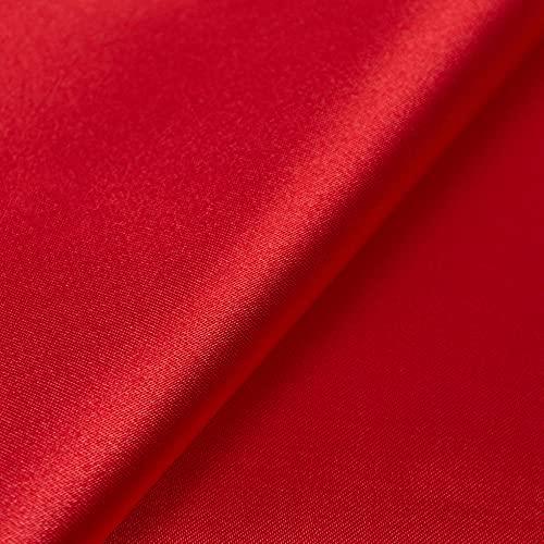 Generico Raso al Mezzo Metro - Tessuto Satine Disponibile in 30 Colori - Altezza 160 cm - 145 gr/mtl - 100% Poliestere (Rosso)