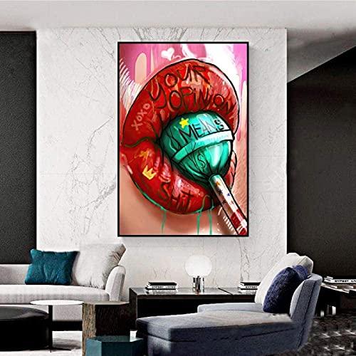 MXXC Impresiones para Paredes Lollipop de Labios Rojos Posters Cuadros Abstractos Pinturas de Grafiti Impresiones 70x90cm sin Marco