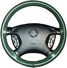 product image for Wheelskins Genuine Leather Green Steering Wheel Cover Compatible with Vehicles -Size AXX