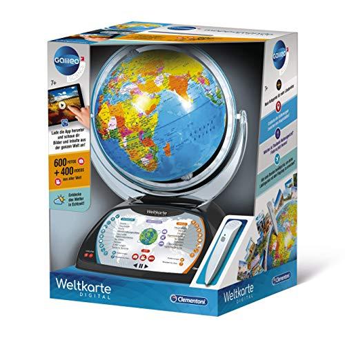 Clementoni 59184 Galileo Science – Digitaler Globus, sprechende Weltkugel mit interessanten Fakten, Infos zu Wetter & Ortszeiten, Spielzeug für Kinder ab 7 Jahren, Lernspielzeug