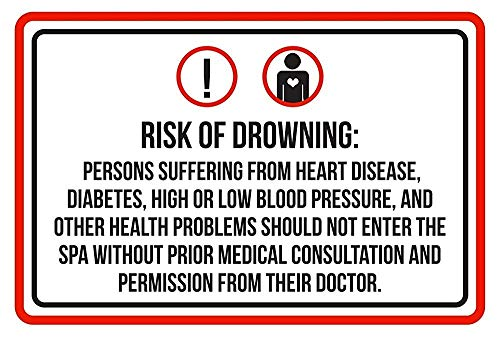 Warnschild Risk of Drowning Swimming Pool SPA 12X16 Inches M0203 Verkehrszeichen Geschäftsschild Aluminium Metall Zinnschild
